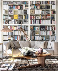 Trendy Home Library Room Ikea Ideas Home Library Decor, Home Library Design, Home Libraries, Library Ideas, Library Wall, Casa Milano, Living Room Scandinavian, Scandinavian Bookshelves, Scandinavian Style