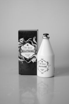 [Old Spice WOLFTHORN after shave lotion] product design++