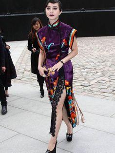 Fan Bingbing in The LV Dark Purple Dielianhua Patterns Rungra Cheongsam Qipao http://www.interactchina.com/servlet/the-Ladies-Fashion-cln-Qipao/Categories