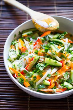 Vietnamese Rice Noodle Salad with  pickled vegetables...a delicious, easy healthy recipe!   www.feastingathome.com