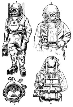 antique diving suit sketch (technical)