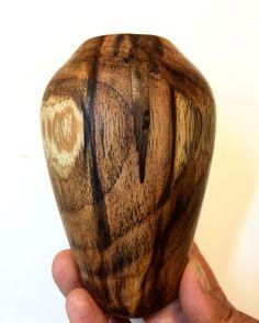 Teak Wood Hollow form. Wood is from Puerto Rico. Each side looks completely different. That is what I love about wood - always a surprise!  Madera Teca de Puerto Rico hecho en el torno de madera. Cada lado es diferente y eso es lo que amo de la madera! Siempre hay sorpresas!  #wood #maker #carpenter #hollowform #woodturning