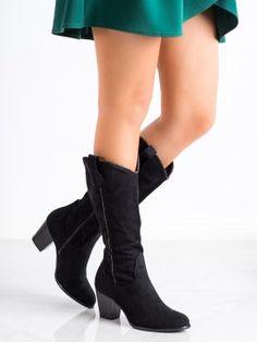 Elegantné čižmy kovbojky Knee Boots, Wedges, Booty, Ankle, Shoes, Fashion, Moda, Swag, Zapatos