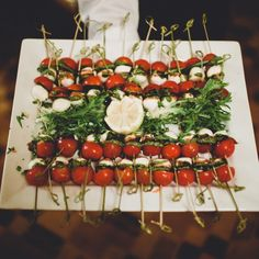I want this idea but with them on toothpicks as individual one-bite app. Wedding Hors D'oeuvres, Wedding Appetizers, Wedding Catering, Wedding Receptions, Wedding Cakes, Appetizer Salads, Appetizer Recipes, Unique Recipes, Raw Food Recipes