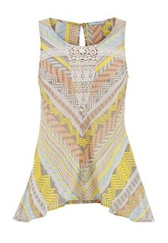 multi pattern shark bite chiffon tank with lace detail (original price, $26) available at #Maurices