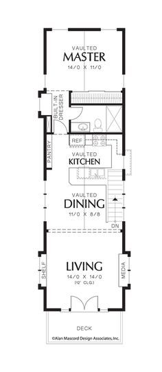 Upper Floor Plan of Mascord Plan 21107 - The Skycole - Contemporary Craftsman Plan Perfect for Narrow Lot