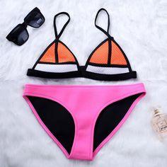dc52907a9d Cheap womens neoprene bikini swimwear, Buy Quality suit suit directly from  China suit wear Suppliers: Solid Color Neoprene Bikini Sets Women Swimwear  ...