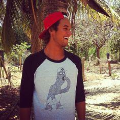 @dreday0405 with our kookie monster baseball tee. #eidon #eidonsurf #tee #nica2013 #nicaragua #tshirt #baseball #monster #surfboard #instagood