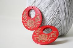Rich Red Rose  Laser Cut Wood Earring