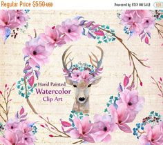 """✍ Design :✍: Color Pallete ✍ Watercolor wedding flowers clip art: """"WREATH CLIPART"""" Floral deer Diy invites invitation clipart Boho wedding pink flowers bouquet clip"""