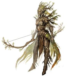 The Sylvari of Guild Wars ent tree person female magic art fantasy bow arrow Fantasy Races, Fantasy Rpg, Fantasy Artwork, Fantasy World, Guild Wars 2, Forest Creatures, Mythical Creatures, Fantasy Monster, Creature Concept