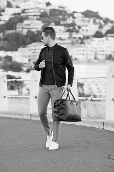 Mens Style, Menswear, Mens Fashion, Street Style, Casual, Black Bomber Jacket, Grey Pants, White Sneakers, Leather Bag, Black Leather, Travel Style, Comfort, Aramis