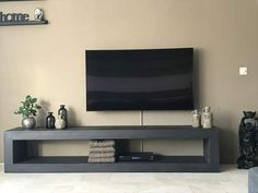 Tv Rack, Flat Screen, Dining Room, House, Home Furniture, Cement, Couches, Accessories, Tv Stand Cabinet