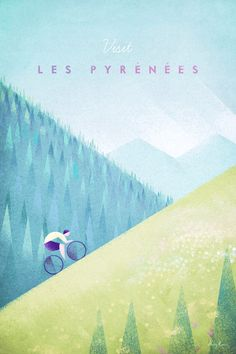 Pyrenees Tour de France Cycling Poster | Art prints available from Travel Poster Co.