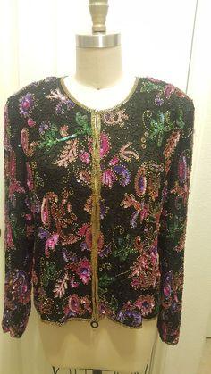 lawrence Kazar beaded and sequins cardigan blazer silk xl Old School Fashion, Sequin Cardigan, Vintage Ladies, Vintage Outfits, Sequins, Bohemian, Blazer, Silk, Blouse