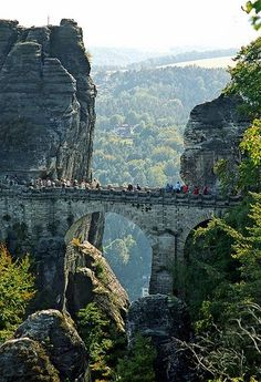 Cross the Bastei Bridge near Dresden in Germany to get an amazing view over the river Elbe. #PANDORAloves