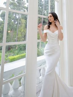 Off the shoulder wedding dress- Simple wedding dress-Mikado wedding dress- Fit and flare- Sexy and elegant wedding dress-Blue by Enzoani — Country Brides Bardot Wedding Dress, Ruched Wedding Dress, Plain Wedding Dress, Maggie Sottero Wedding Dresses, Wedding Dresses With Straps, Blue Wedding Dresses, Designer Wedding Dresses, Wedding Gowns, Bridesmaid Dresses