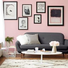 New Living Room Grey Black Home Decor Ideas Living Room Decor Grey Couch, Living Room White, Living Room Paint, Living Room Grey, Black And White Pillows, Black Sofa, Black White, Pink Walls, Gray Walls