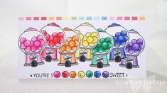 Lawn Fawn Sweet Smiles; #LawnFawn; rainbow; Zig Clean Colour Real Brush Markers.