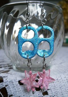 Original, Handmade Tab Earrings made with Glitter Glue and Pink Acrylic Beads (French Hook Wire)