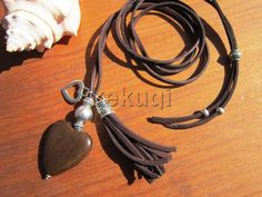 Women dark brown leather and wood heart necklace jewelry by kekugi