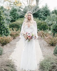 santa monica wedding dress and cape by claire pettibone romantiqueperfect for a garden wedding - The Bridal Garden