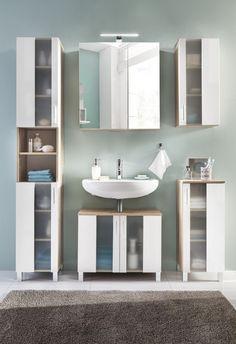 Meuble bas de salle de bain 1 porte chêne/blanc Cathy   Ensemble ...