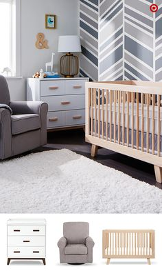 Going modern with Baby's nursery? As your base, use soothing, neutral tones of gray and white. Then choose a crib that will grow with your baby, like the Babyletto Hudson 3-in-1 convertible crib that converts to a toddler bed or daybed. Next on your list is the Babyletto Scoot Dresser with tray—it doubles as a changing table. And lastly, the must-have upholstered Delta Children Rowen Glider is a cozy spot for feeding your baby. Add these three pieces to your registry and you're on your way!