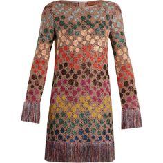 Missoni Zigzag crochet-knit mini dress ($1,980) ❤ liked on Polyvore featuring dresses, metallic short dress, crochet dress, polka dot mini dress, fringe dress and metallic fringe dress