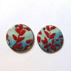 Enamel earring charms Enameled copper earring by OxArtJewelry