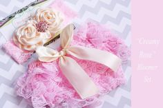 Pink Lace bloomer set  Creamy Rose  cream by MudpiesandPigtails, $21.95