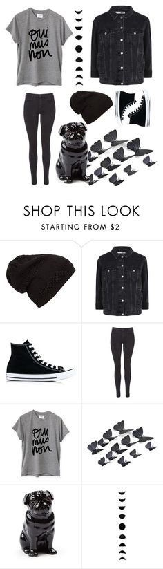 """""""black"""" by kennycoptero ❤ liked on Polyvore featuring Topshop, Converse, Maison Scotch, Sincerely, Jules, Quail and black"""