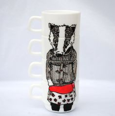 Hand painted set of 4 espresso cups - Miss Badger