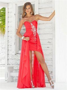 Sexy Sweetheart Beaded Ruched Bodice Chiffon Prom Dress PD10879