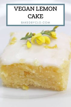 Moist lemon cake topped with a sweet and zingy drizzle and a layer of icing. Moist lemon cake topped with a sweet and zingy drizzle and a layer of icing. Lemon Drizzle Cake Moist, Vegan Lemon Cake, Cake Vegan, Dairy Free Lemon Cake, Eggless Lemon Cake, Lemon Cakes, Eggless Baking, Lemon Filling, Dessert Party