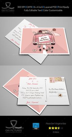 Wedding Postcard Invitation  — PSD Template #married #restaurants • Download ➝ https://graphicriver.net/item/wedding-postcard-invitation/3206032?ref=pxcr