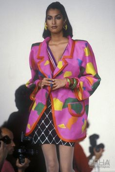Yasmeen ghauri for emanuel ungaro, spring-summer couture. 80s And 90s Fashion, Fashion Mode, Couture Fashion, Retro Fashion, Runway Fashion, High Fashion, Fashion Beauty, Vintage Fashion, Fashion Looks