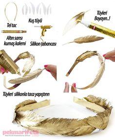 Altın sarısı, tüylü taç yapımı | Takı Tasarım | Pek Marifetli!