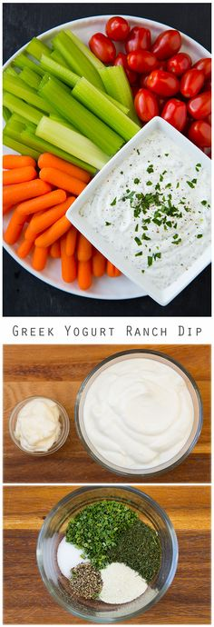 Lighter Greek Yogurt Ranch Dip - this is much lighter than a regular ranch dip but tastes equally as good if not better, and no MSG ranch packet here!