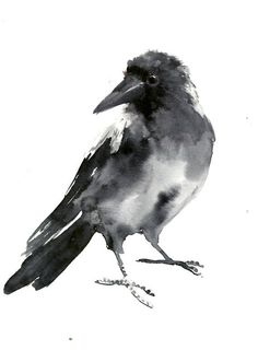 Crow, bird artwork original one of a kind watercolor painting, crow painting