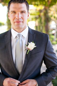 wax and rose boutonniere