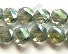 Image result for FACETED TWIST COIN CRYSTAL BEAD