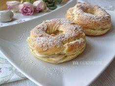 Věnečky s lískooříškovým krémem (Paris Brest) - Víkendové pečení Cronut, Paris Brest, Eclairs, Bagel, Nutella, Baked Goods, Food And Drink, Bread, Cheesecake