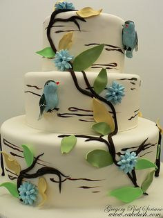 Birds 'n' Blue Cake