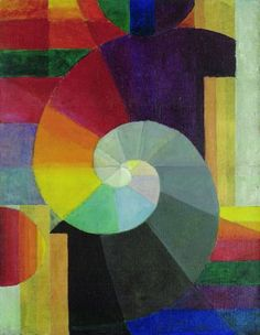 "The painting ""Die Begegnung"" (The Encounter), which was created three years before the founding of the Bauhaus, Johannes Itten anticipates many characteristics of the Bauhaus's art with its abstract formal vocabulary: design using geometric forms such as the circle, square and spiral, contrasts of light and dark and varying colour schemes."