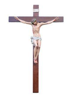 Cristo in Croce  altezza Cristo cm. 120 in vetroresina croce di legno cm. 240x150 dipinto con colori acrilici e finiture ad olio  http://www.ovunqueproteggimi.com/collezione-statue/ges%C3%B9/cristo-in-croce/