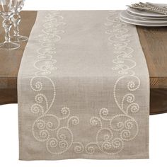 Embroidered Swirl Design Simple Natural Linen Blend Table Runner - Saro Lifestyle embroidered swirls bring a playful quality to this beautiful table runner. Featuring a linen-blend construction, the Swirl Embroidered Runner offers a n Types Of Embroidery, Embroidery Patterns, Hand Embroidery, Flower Embroidery, Japanese Embroidery, Table Runner Pattern, Hardanger Embroidery, Swirl Design, Satin Stitch