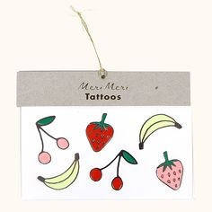 These fruity, temporary tattoos are decorated with bright colors and shiny silver foil ...
