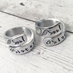 Matching Friend Rings - Soul Sisters Rings - Gift for Best Friend - Personalized Rings - Friendship Rings - Matching Rings - Hand Stamped Best Friend Rings, Best Friend Jewelry, Best Friend Outfits, Best Friends, Matching Outfits Best Friend, Mens Rings Online, Sister Rings, Bff Rings, Friendship Rings