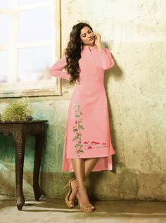 KARMA TC-9003-B RATE : 695 - TUCUTE COLOUR PLUS BY KARMA  TC-9000 AND TC-9003 COLOUR FLEX COTTON WITH THREAD EMBROIDERY WORKED DESIGNER FANCY TUNICS KURTIS AT WHOLESALE PRICE AT DSTYLE ICON FASHION CONTACT: +917698955723 - DStyle Icon Fashion